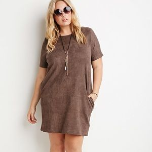FOREVER 21 plus FAUX SUEDE TAUPE DRESS